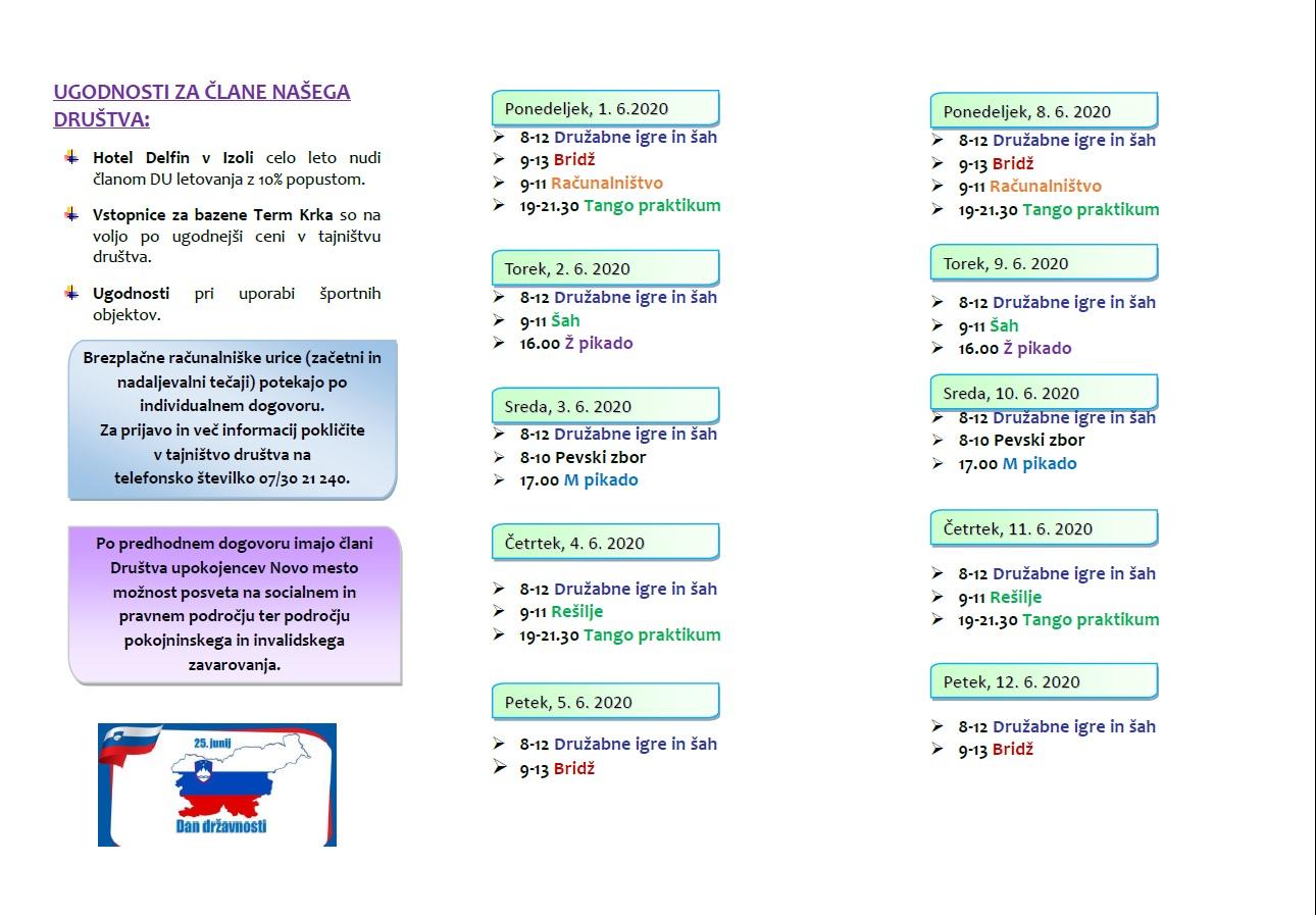 Program za mesec junij